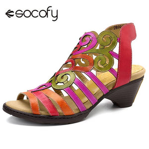 SOCOFY Super Comfy Hollow Genuine Leather Love Shape Soft Hook Loop Low Heel Sandals