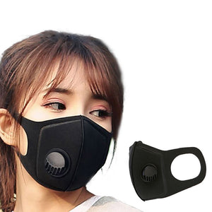 Anti PM2.5 Pollution Foam Face Mask with Mouth Respirator Black Breathable Valve Mask Filter technology