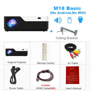 Real Full HD Projector, HDMI USB PC 1080p LED Home Multimedia Video Game Projector Support AC3