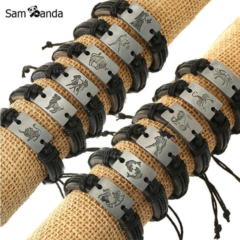 Zodiac Men Jewelry Bracelet Leather Bracelets For Women Charm Bracelet