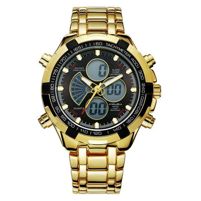 Amuda Mens Sport Watch Led Gold Big Face Quartz-Watch Men Waterproof Wrist Watch Male Watches Clock Relogio Masculino