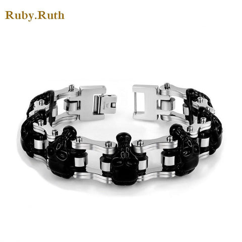 European Men skull stainless steel bracelet biker men bracelet wholesale jewelry