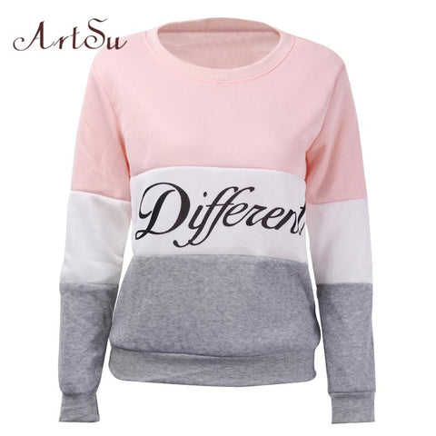 ArtSu 2017 Autumn and winter women fleeve hoodies printed letters Different women's casual sweatshirt hoody sudaderas EPHO80027