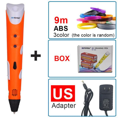 1.75mm ABS/PLA DIY Smart 3D Pen 3D Printing Pen Drawing Pen Printer With Free Filament Creative Gift For Kids Design Painting