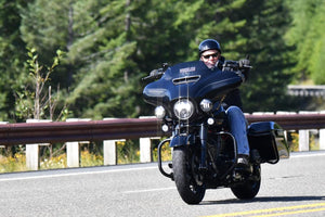 Bikers ride Spirit Lake Memorial Highway in DeRosier memorial ride