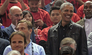 Barack Obama arrived at Game 2 of NBA Finals in a leather jacket and fans loved it