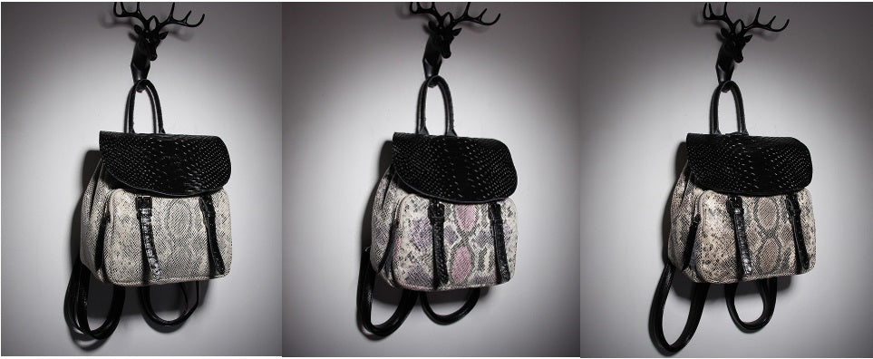 SERPENTINE PRINT PUNK STYLE LADIES BACKPACK
