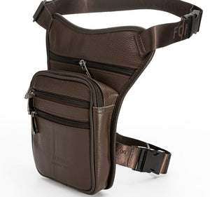 Genuine Real Leather Drop Leg Bag Casual Waist Pack Thigh Hip Bum Belt Bag