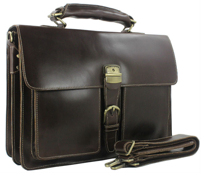 Luxury Genuine Leather Men Briefcase Laptop Bag 15 6 Big Business Bag