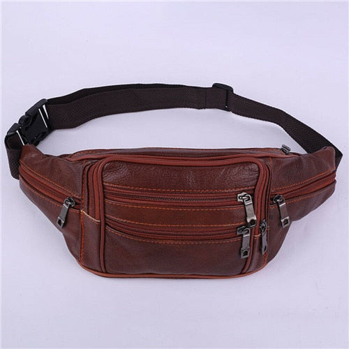 New Fashion Men Leather Waist Belt Fanny Pack Hip Bum Military Pouch Bag Five Zippered Pockets Wallet Purse Holder Fanny Pack