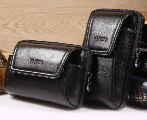 Real Skin Men's Waist Bag Genuine Leather Fanny Packs Hip Bum Belt Purse Small Pouch for Cell Mobile Phone Cigarette Pocket Case