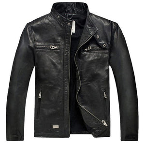 Men's Genuine Sheepskin Leather Jacket  Casual Slim Biker Motorcycle Coat Jaqueta