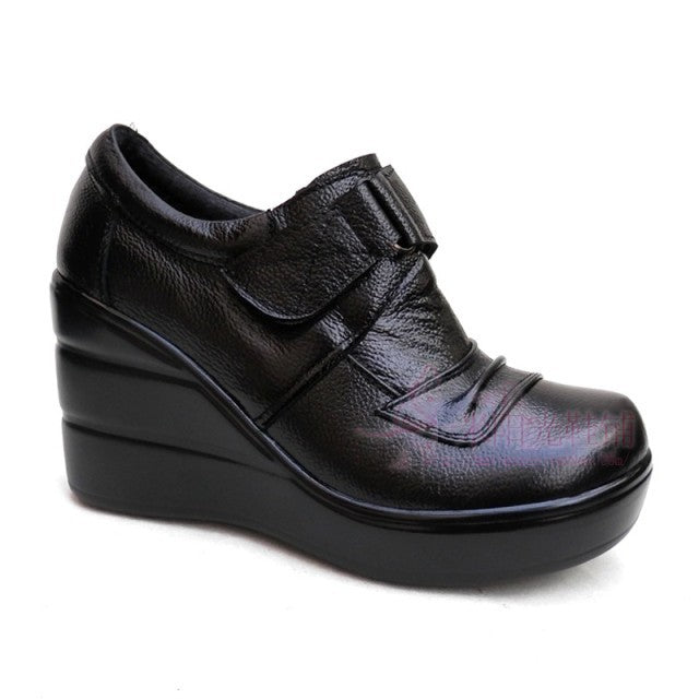 Genuine Leather Women's High-Heeled High Wedges Velcro Strap Shoes