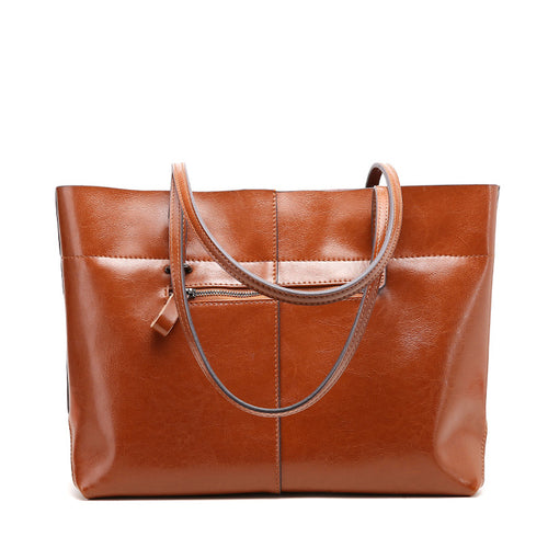 Genuine Oil Wax Leather Women Handbag Vintage Tote Large Capacity Shoulder Bag