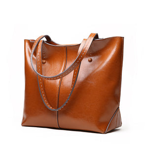Women Handbag Genuine Leather Soft Oil Wax Large Shoulder Bag Casual Tote