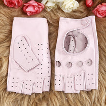 Women Gloves Genuine Leather Driving Glove Pink Black Fingerless Goatskin Mittens