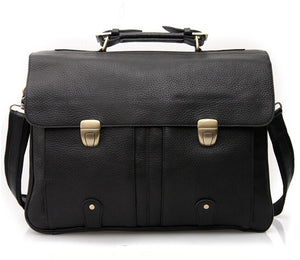 "Men's Fashion Genuine Leather Briefcases for 15"" Laptop Handbag Tote Shoulder Bag Black"