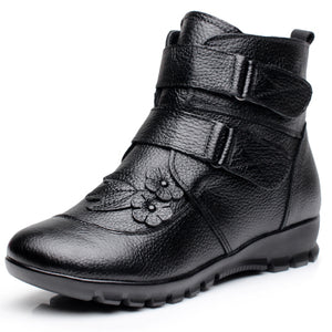 Women Ankle Boots Genuine Leather Wedges Non-slip Warm Snow Boots