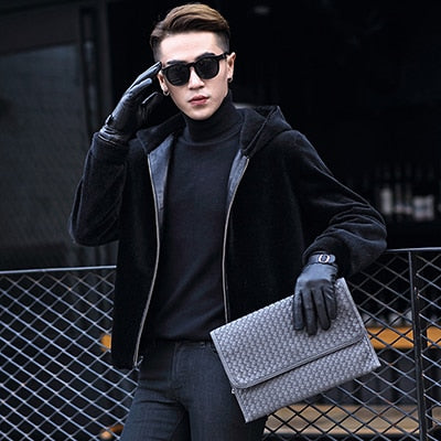 Genuine Leather Jackets for Men Winter Fashion Shearling Jacket Warm Coat