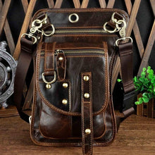 Genuine Leather Design Small Casual Messenger Mochila Bag Fashion Travel Belt Waist Pack Drop Leg Bag Tablets Pouch 2141-b
