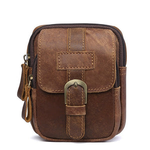 Men Genuine Leather Vintage Hip Bag Cell/Mobile Phone Pocket Belt Pouch