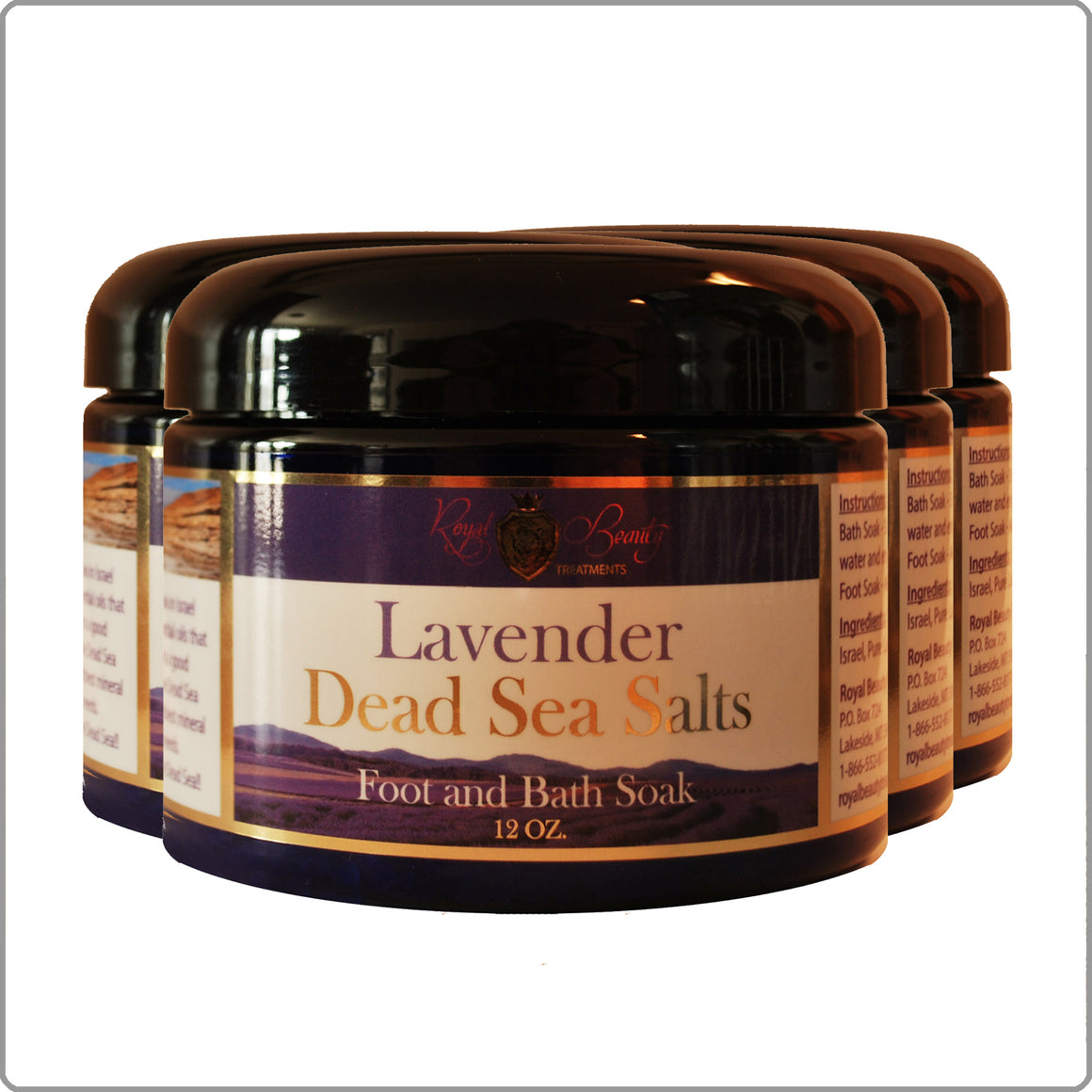 12oz. Lavender Dead Sea Salts 4 Pack WITH FREE SHIPPING!