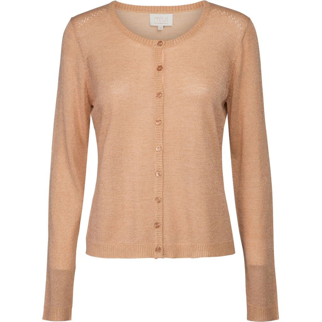 Minus NEW LAURA cardigan med glimmer (lurex) i light peach