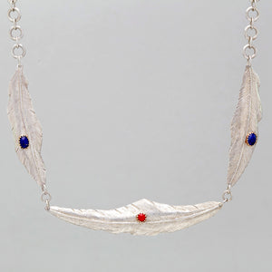 TRIPLE FEATHER NECKLACE IN STERLING SILVER WITH LAPIS AND CORAL STONES