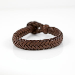 FLAT FISHBONE LEATHER BRACELET IN DARK BROWN