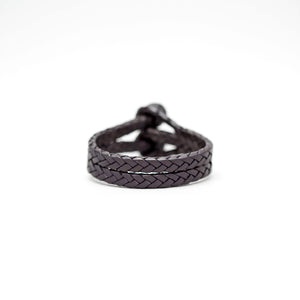 DOUBLE CLOSURE SLIT BRAIDED LEATHER BRACELET IN BLACK