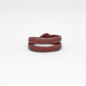 DOUBLE WRAP BRAIDED LEATHER BRACELET IN BROWN