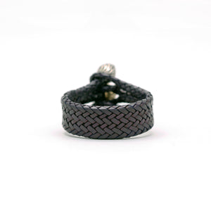 TRIPLE CLOSURE FEATHER CAPS WITH BRAIDED LEATHER BRACELET IN BLACK