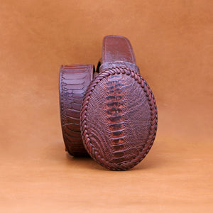 BROWN OSTRICH LEG BUCKLE