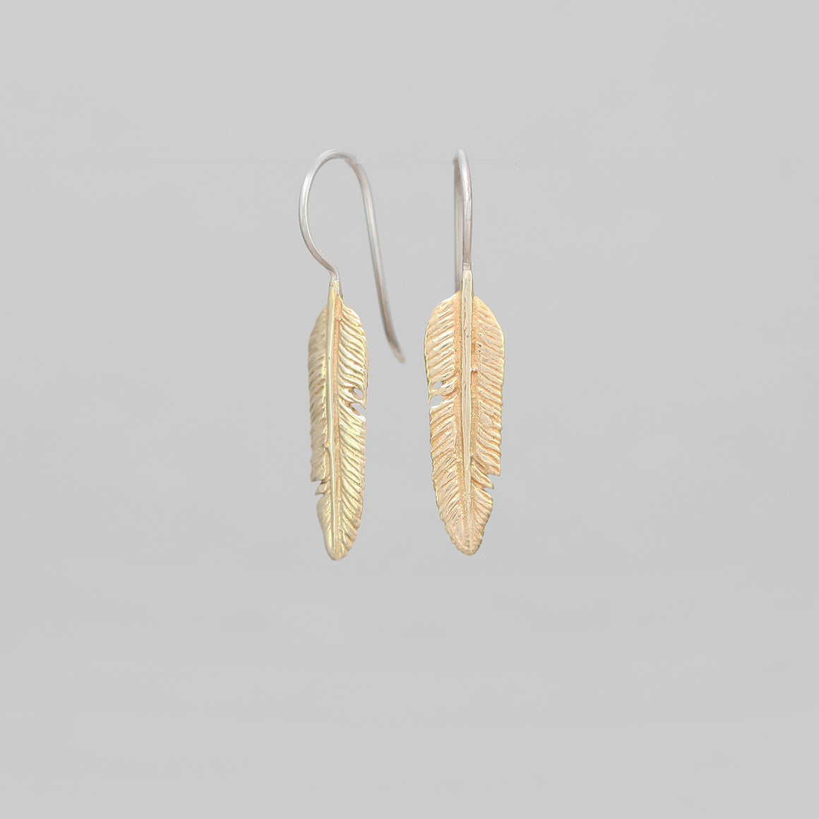 SMALL YELLOW BRASS FEATHER DROP EARRINGS