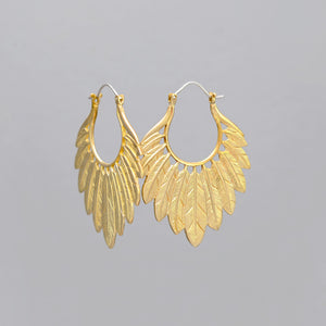 YELLOW BRASS MULTI FEATHER EARRINGS