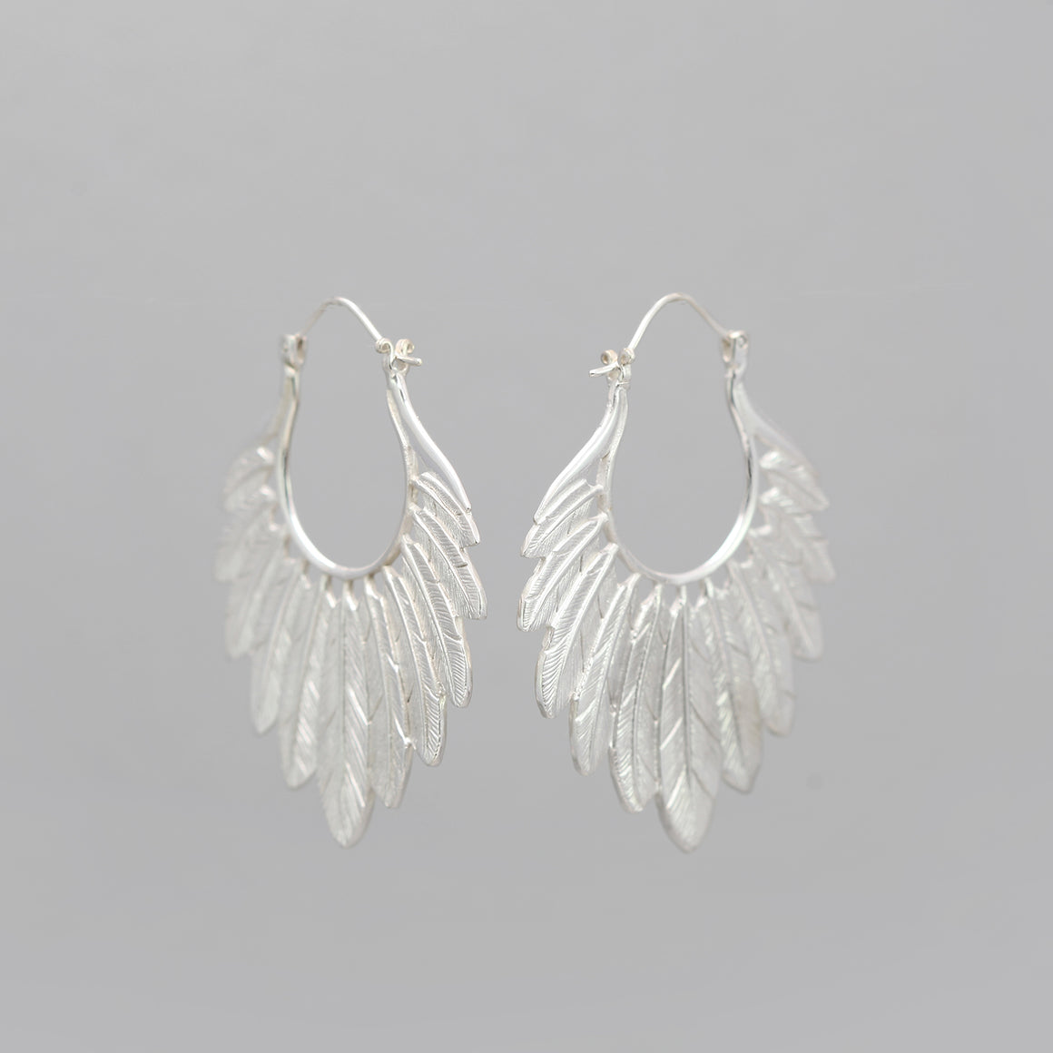 SILVER PLATED MULTI FEATHER EARRINGS