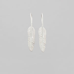 SMALL SILVER PLATED FEATHER DROP EARRINGS