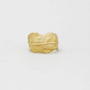 FEATHER RING IN YELLOW BRASS