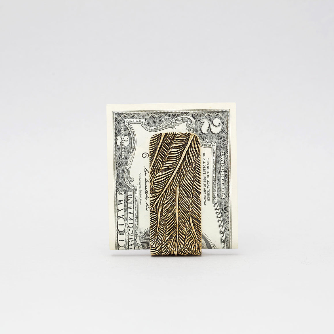 FEATHER PATTERN MONEY CLIP IN YELLOW BRASS