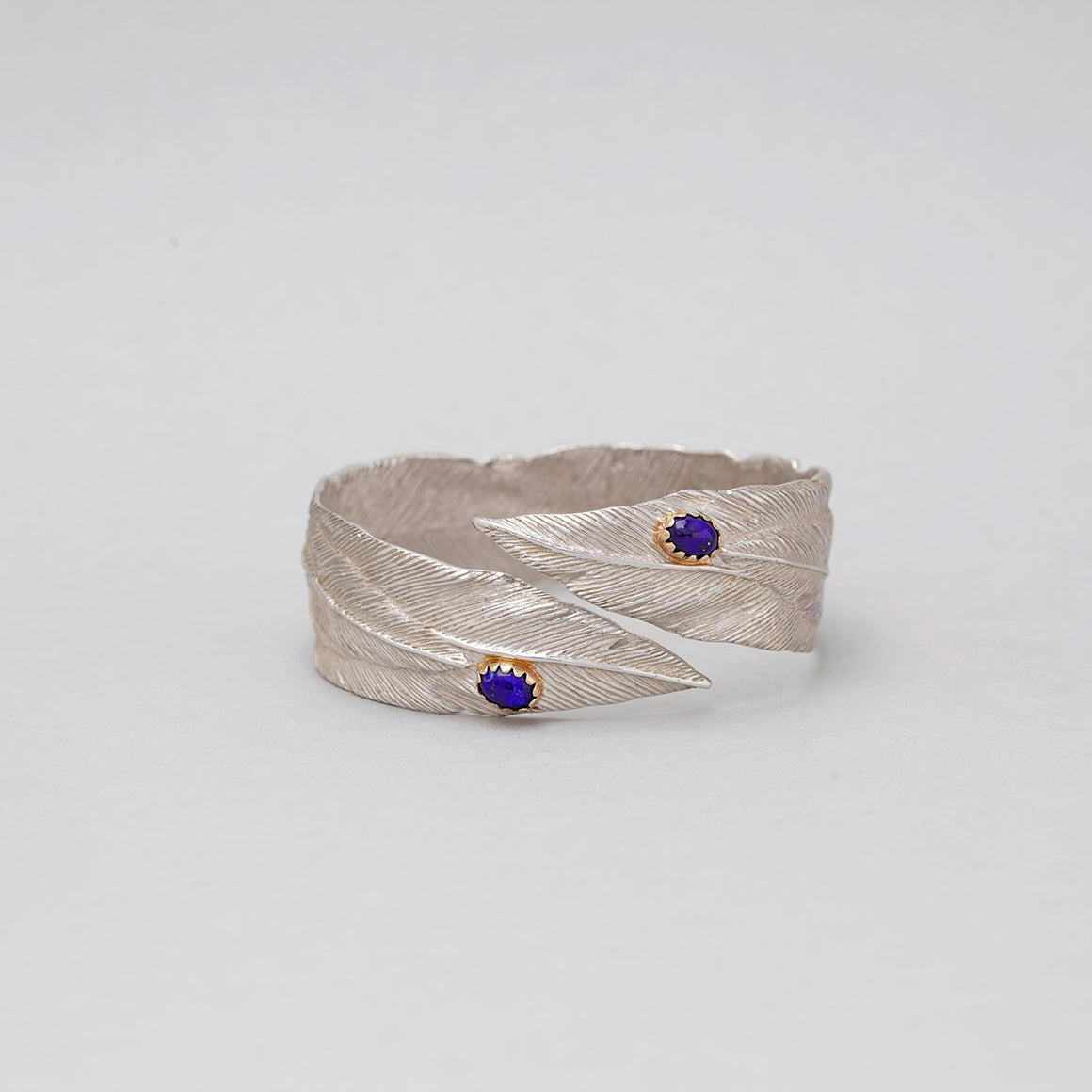 STERLING SILVER FEATHER BANGLE WITH LAPIS