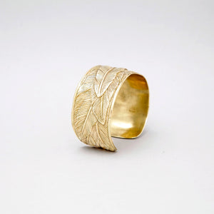 WIDE YELLOW BRASS FEATHER CUFF