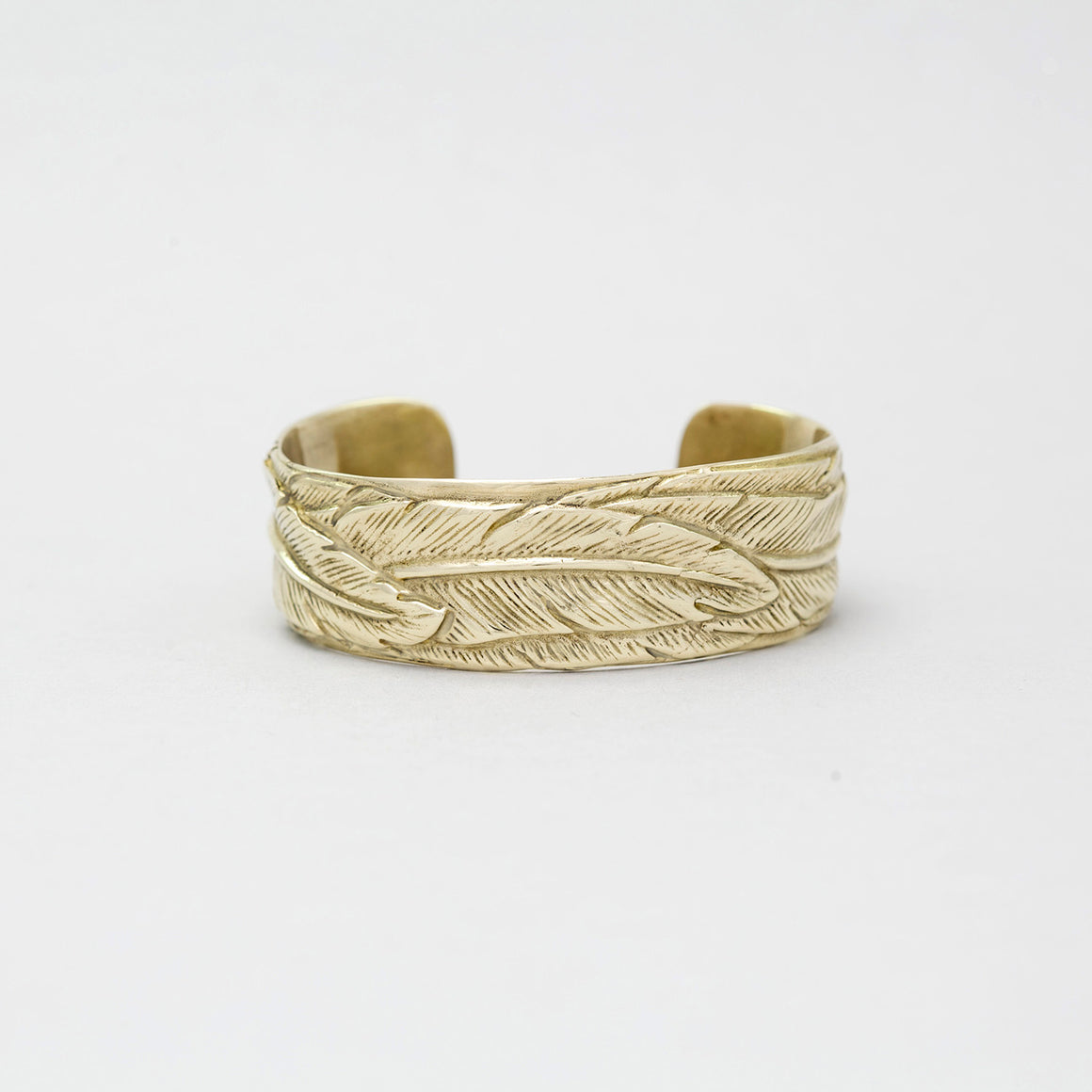 SMALL YELLOW BRASS FEATHER CUFF