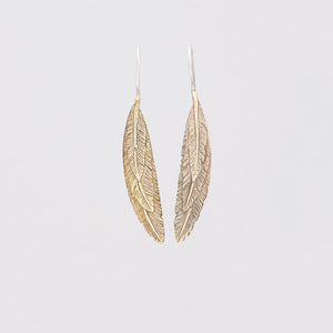 FEATHER OVERLAY EARRINGS IN YELLOW BRASS