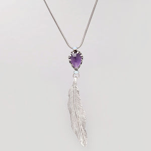 AMETHYST TEAR DROP FEATHER PENDANT