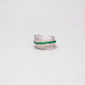WHITE BRASS FEATHER RING WITH COLOMBIAN EMERALD