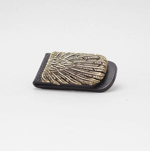 YELLOW BRASS FEATHER WITH BLACK EXOTIC MONEY CLIP