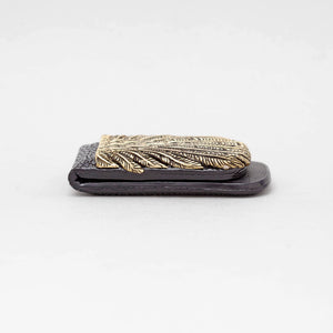 YELLOW BRASS FEATHER WITH BLACK STINGRAY MONEY CLIP