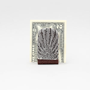 SILVER PLATED FEATHER WITH BROWN EXOTIC MONEY CLIP