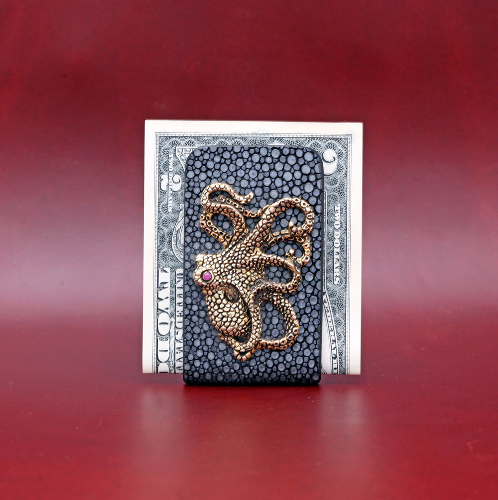 YELLOW BRASS OCTOPUS WITH BLACK EXOTIC MONEY CLIP