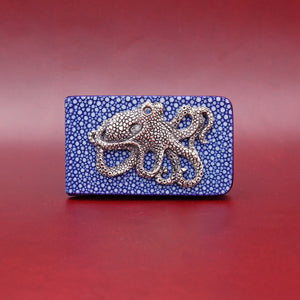 SILVER OCTOPUS WITH BLUE EXOTIC MONEY CLIP